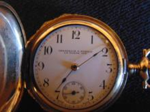 14K gold and heavy gold plate two toned floral ladies pendant watch by the Elgin