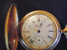14K gold American Waltham pocket watch, weighs 59.8 grams with the movement.  Ha