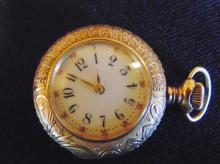 14K gold outstanding filigreed chased ladies pendant watch with hand painted por