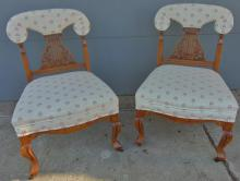 Matthews Brothers Victorian pierced carved maple side chairs. This matched pair