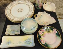 Large group of hand painted china to include: four Wedgewood made in England dinn