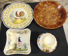 Large group of early Quimper ware depicting roosters, people, and more;  along w
