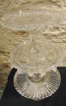 Victorian fancy pressed glass cake stands, Set of three