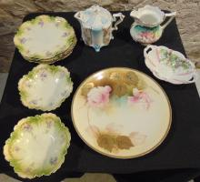 Group of hand painted china to include: R.S. Prussia candy dish; unsigned R.S. P