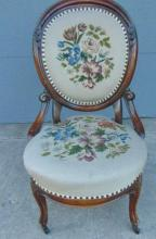 Walnut balloon back side chair with needle and petty point floral upholstery. Th
