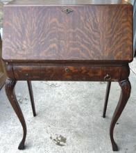 Ladies oak drop front desk with claw feet