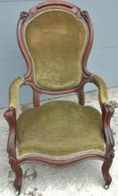 Victorian walnut balloon back armed Gentleman's chair in original finish and uph