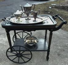 Victorian ebonized tea cart with removable glass top; along with a Sheffield sil