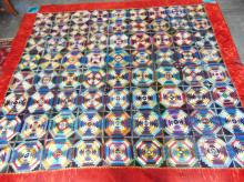 Absolutely outstanding hand done full crazy quilt with large velvet border, the