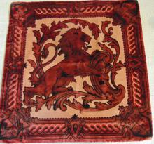 Antique Victorian soft goods to include: cut velvet pillow case with full figured lion,