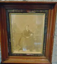 Photo of Phoebe Heck Platz in a Victorian walnut frame. Frame measures 20