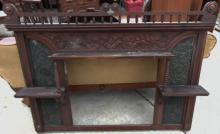 Victorian elaborate walnut buffet back with shelves and carvings