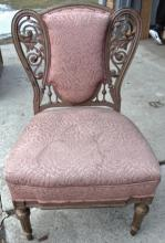 Matthews Brothers pierced carved side chair with pink upholstery