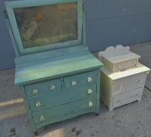 Two turn of the century antique doll dressers in as is condition