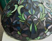 Multi colored fancy floral and jeweled leaded glass shade
