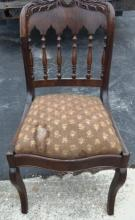 Single flamed mahogany spindle back side chair