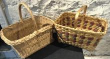 Set of two antique market baskets.  One has a wooden bottom.  The other has a ha