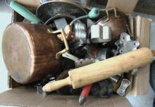 Large lot of kitchen miscellaneous to include: cookie cutters, copper pans, rice
