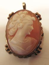 10K gold Italian carved cameo from Pompeii depicting a young beauty, could be a