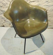 Eames Herman Miller Fiberglass Armchair 1950's, signed on the bottom, army green