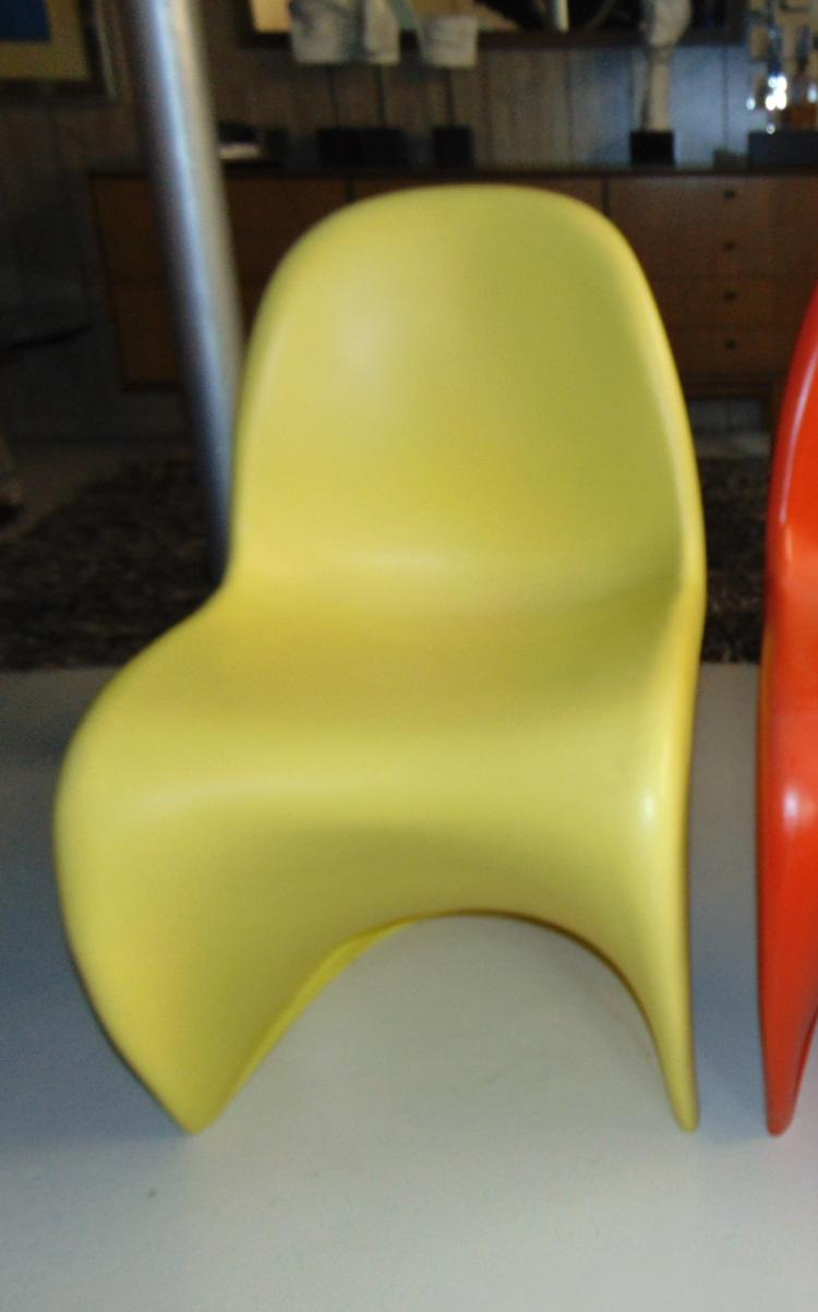 Verner Panton vintage 1960's stacking chair, signed, yellow in color