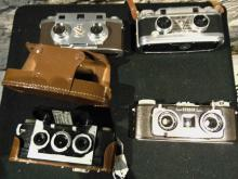 Revere, TDC Stereo Vivid, Kodak Stereo, and a Stereo Realist camera