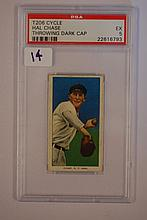 1909-1911 T206 Cycle Hal Chase Throwing Dark Cap 5