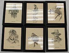 6 FRAMED MOVIE PRINTS OF JOHN WAYNE BY RON ADAIR
