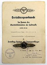 WWII GERMAN TRANSPORT/GLIDER CLASP WITH DOCUMENT