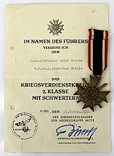 NAMED WWII GERMAN WAR MERIT CROSS WITH AWARD