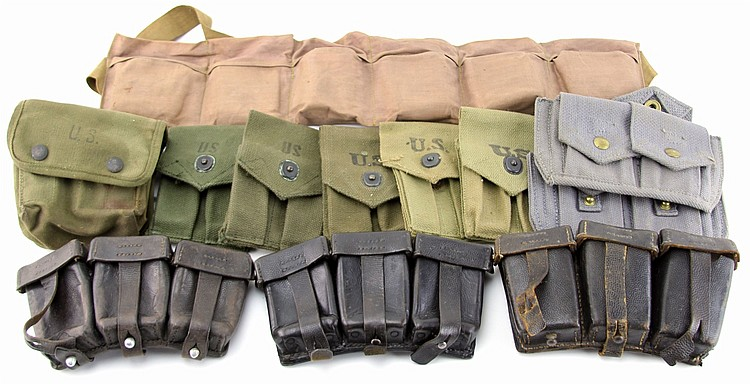 GROUPING OF CARTRIDGE & MAGAZINE CASES & GEAR