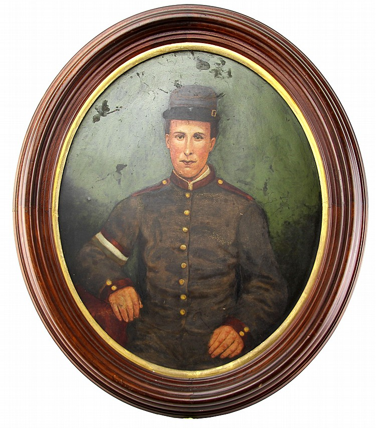 FRAMED OVAL OIL ON BOARD OF A WWI FRENCH SOLDIER