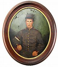 Lot 9063: FRAMED OVAL OIL ON BOARD OF A WWI FRENCH SOLDIER