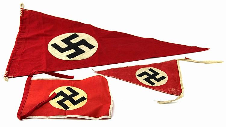 WWII GERMAN PENNANT LOT OF THREE