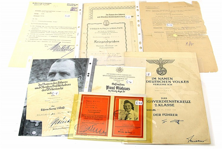 Lot 9119: WWII GERMAN MILITARY DOCUMENTS AND CERTIFICATES