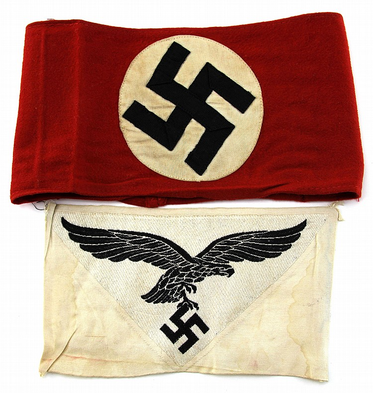 TWO WWII GERMAN ITEMS NSDAP BAND & LUFTWAFFE PATCH