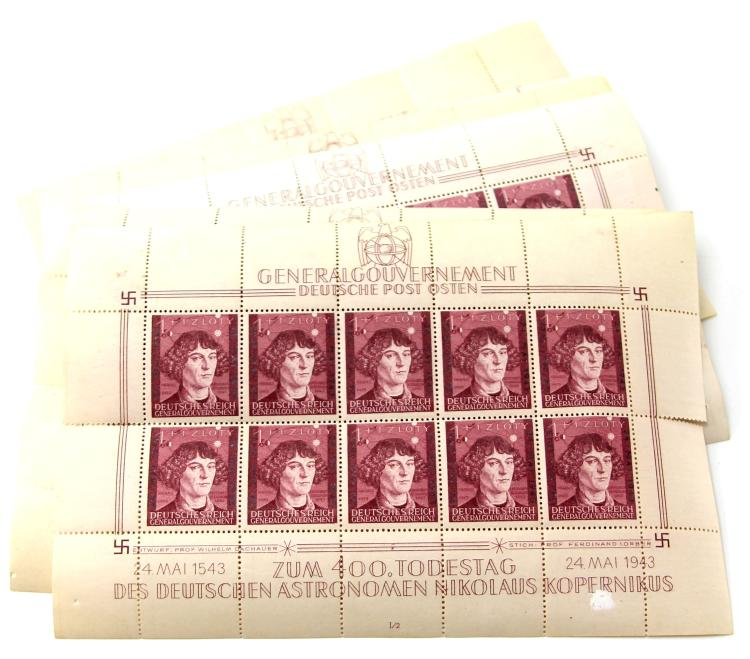 Lot 9136: 12 WWII GERMAN UNCUT STAMP SHEETS COPERNICUS