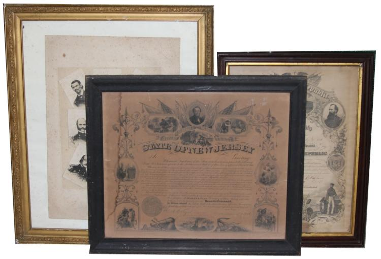 Lot 9006: FRAMED CIVIL WAR DOCUMENT LOT OF 3