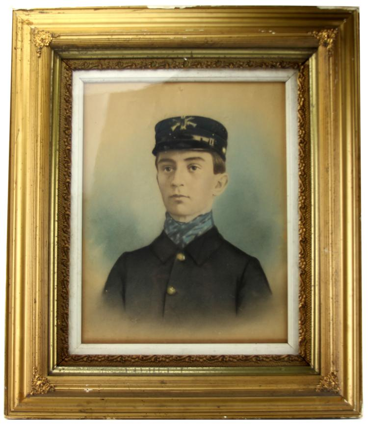FRAMED PASTEL OF A US SPANISH AMERICAN WAR SOLDIER