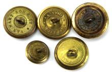 Lot 9008: CIVIL WAR ERA CONFEDERATE STATES BUTTON LOT OF 5