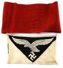 Lot 9132: TWO WWII GERMAN ITEMS NSDAP BAND & LUFTWAFFE PATCH