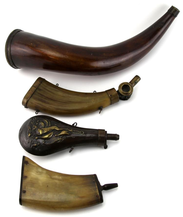 19th CENTURY POWDER HORN LOT OF 4