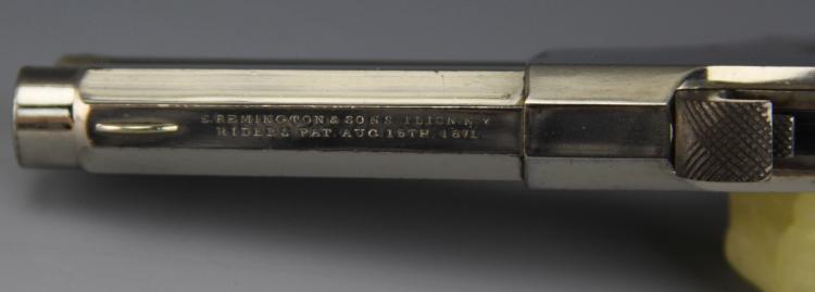 Lot 9167: REMINGTON-RIDER MAGAZINE PISTOL IVORY GRIPS