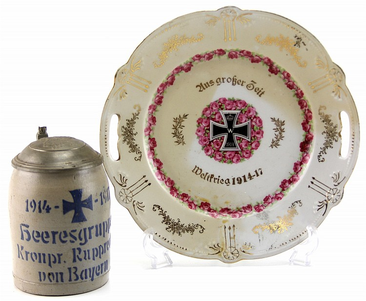 GERMAN WWI COMMEMORATIVE PLATE & STEIN