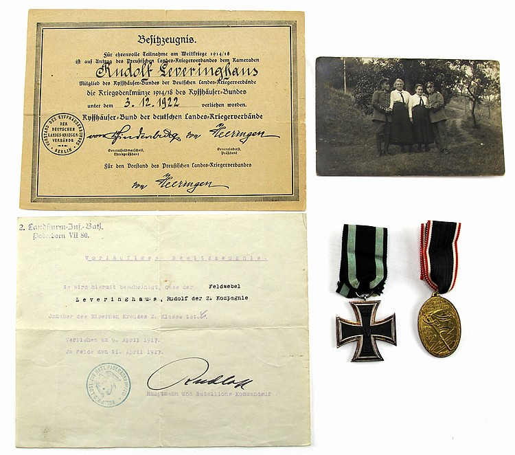 NAMED WWI GERMAN MEDALS WITH DOCUMENTS & PHOTO