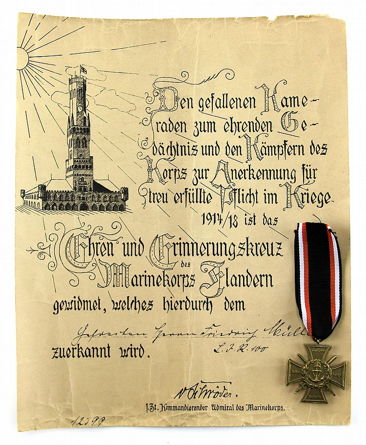 WWI GERMAN FLANDERNKREUZ WITH DOCUMENT