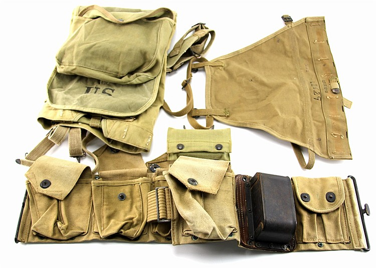 WWI RIFLEMAN'S BAR WEB BELT RUCKSACK GEAR LOT