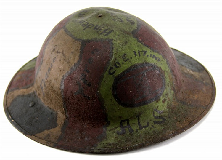 WWI US 117th INFANTRY CO. E PAINTED HELMET