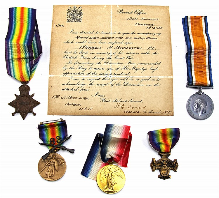 (5)NAMED WWI UK 1914-15 STAR WAR & VICTORY MEDALS