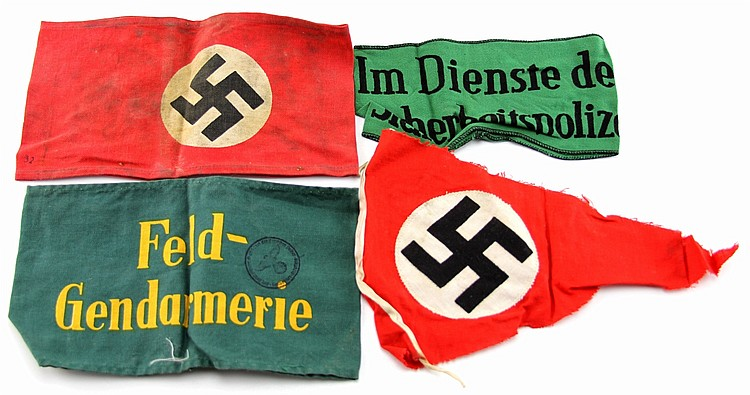 WWII GERMAN ARMBAND PENNANT LOT